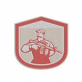 Metallic Soldier Military Serviceman Holding Assault Rifle Crest Retro