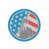 Metallic Soldier Military Serviceman Holding Rifle Circle Retro