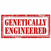 foto of genetic engineering  - Grunge rubber stamp with text Genetically Engineered - JPG