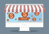 minimalistic illustration of a monitor with shop awnings and shopping cart symbols, eps10 vector
