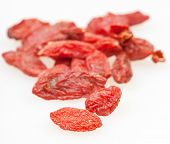 Dried Goji Berries Close Up On Whit