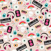 Seamless colorful music love and skull retro illustration background pattern in vector