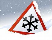 stock photo of skid  - Road sign warning of the dangers of winter - JPG