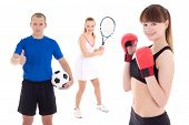 Sport Concept - Soccer Player, Female Tennis Player And Woman In Boxer Gloves Isolated On White