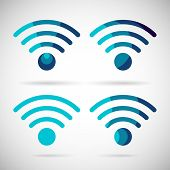 WiFi Icon Wireless Internet connection Flat Design Element Symbol Vector Illustration