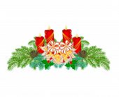 Christmas Decoration Advent Wreath With White Poinsettia Vector
