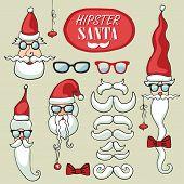 Hipster Santa Claus faces set.Funny doodle