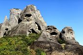 Big Rocks On The Mountains In Meteora, Greece.