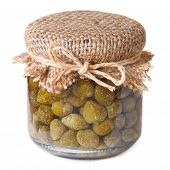 Capers In A Glass Jar Closeup Isolated On White Background