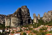 Kastaraki Of Meteora, In Greece. The Village Of Kastaraki Located Under Meteora Mountains And It's A