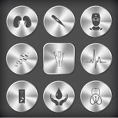 Medical set. Vector round and square steel buttons.