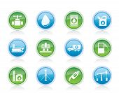 Vector oil and petrol industry objects icons