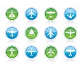 Vector different types of plane icons