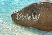 Close up Vintage Large Rock on Water at Beautiful Anse Lazio Beach in Praslin Island, Seychelles