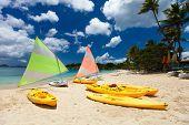 Catamarans at beautiful tropical Caribbean beach