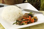 Spicy Stir-fried Pork Leg And Steamed White Rice