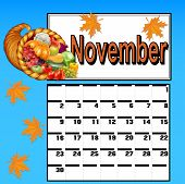 Calendar For November, With Thanksgiving And Cornucopia