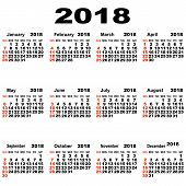 Calendar Of 2018.