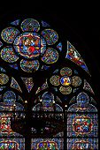 Stained Glass Window In Notre Dame De Paris Cathedral
