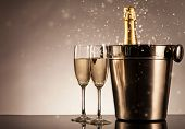 picture of life event  - Champagne bottle with glasses - JPG