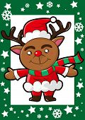 picture of rudolph  - Happy Christmas reindeer red nose and santa claus hat - JPG