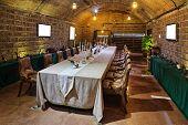 wine tasting room in villa basement
