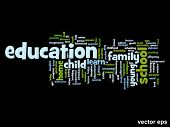 Vector eps concept or conceptual education abstract word cloud on black background