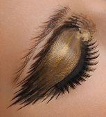 Gold glamour eye make up