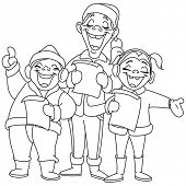 Outlined Christmas carolers. Vector illustration coloring page.