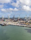 Miami, Usa - September 06, 2014 : The Port Of Miami With Containers And Cranes On The Background On