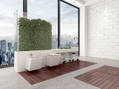 3D Rendering of Clever interior bathroom design utilizing plants in a glass enclosure to create a wall effect in front of a floor-to-ceiling window overlooking a city to mount the vanity units