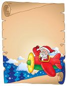 Parchment with Santa Claus in plane - eps10 vector illustration.