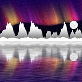 Illustration Of Snow Mountains At Night And Mirror In The Water