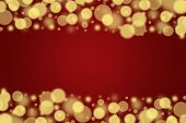The Gold Blured Balls On A Red Background