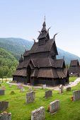 Gorgeous view of the Borgund Stave Church and cemetery, Lærdal, Sogn og Fjordane County, Norway.