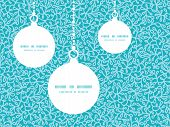 Vector abstract underwater plants Christmas ornaments silhouettes pattern frame card template