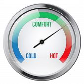 image of indications  - Indicator meter of comfort between cold and hot - JPG