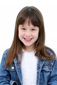 Seven Year Old Girl In Denim Over White