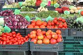 picture of crate  - Fruits and Vegetables in crates at Farmers Market