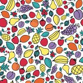 Seamless pattern with different fruits. Vector illustration