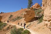 Hikers at Queens Garden trial at Bryce Canyon National Park in Utah