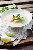 Creamy salmon soup in finnish style