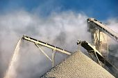 picture of smog  - Smog and dirty dust air pollution industrial background on outdoor rock crushing and digging plant factory  - JPG
