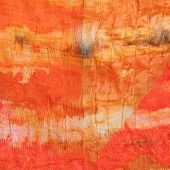 Background From Abstract Painted Orange Silk Batik