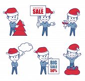 Business  Characters boys for holiday sale banner.