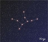 picture of virgo  - star constellation of virgo on dark sky vector - JPG