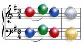 picture of christmas song  - Christmas song composed of colorful shiny christmas tree balls instead of notes - JPG