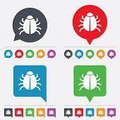 Bug sign icon. Virus symbol. Software bug error