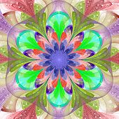 Symmetrical Pattern In Stained-glass Window Style. Pink, Blue, Purple And Green Palette. Computer Ge