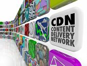 CDN Content Delivery Network words on an app tile to illustrate software, apps, technology, servers or programs for supplying photos, videos, articles or information to an audience